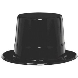 Black Plastic Top Hat-1pk