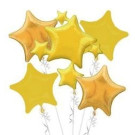 Foil Balloon Bouquet - Star Balloon Gold - 5 balloons