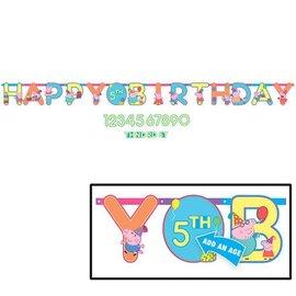 Jumbo Letter Customizable-Add an Age Banner - Happy Birthday - Peppa Pig
