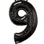 """Foil Balloon - Black - #9 - 34"""" X 22"""""""