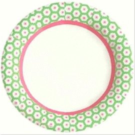 """Paper Plates - BEV - Deco Pink and Green - 8"""" - 8 pc (Discontinued)"""