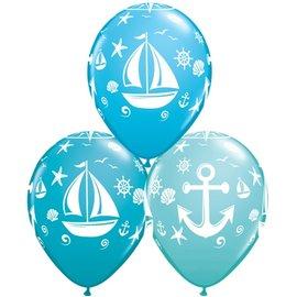 "Latex Balloon - Nautical Sailboat & Anchor - 11"""
