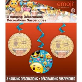 Emoji-Hanging Swirl Decorations (3pc)