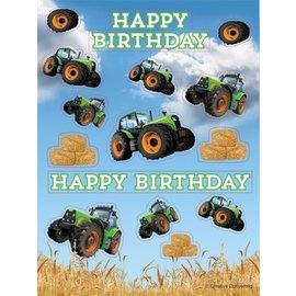 Tractor Time-Birthday Stickers 4pk