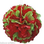 """Red and Green Puff Ball 14"""""""