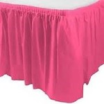 Plastic Table Skirt - Bright Pink 33.9 SQ ft.- Final Sale