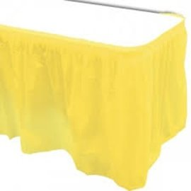Plastic Table Skirt - Light Yellow 33.9 SQ ft.- Final Sale