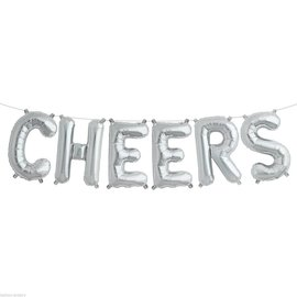"""Air Filled -  Cheers Balloon Kit /Silver/ 16"""""""
