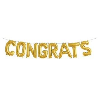 Air Filled foil balloon kit- Congrats/Gold