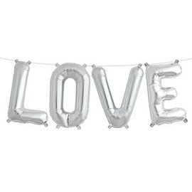 Air Filled Love Balloon Kit Silver