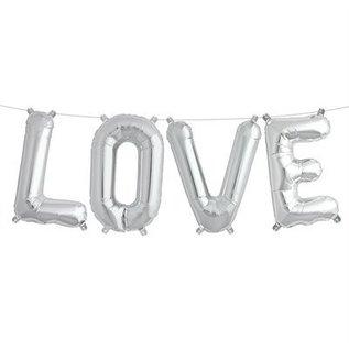Air Filled Love Balloon Kit Silver