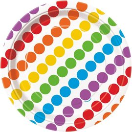 "Beverage Paper Plates- Rainbow Birthday- 8pk/7"""