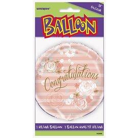 """Foil Balloon - Congratulations Pink Flowers - 18"""""""