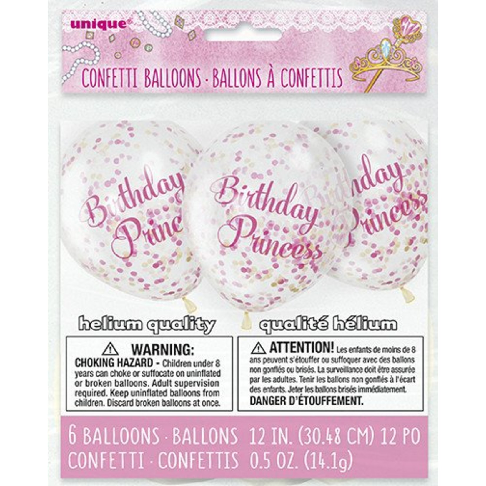 "Balloons - Lates- Birthday Princess with Confetti -12"" (6PK) Biodegradable"