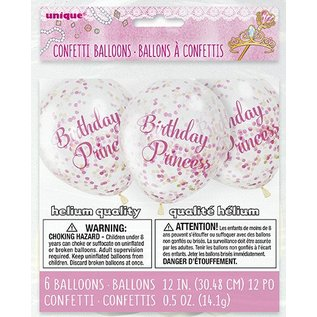 "Balloons - Lates- Birthday Princess with Confetti -12"" (6PK) Biodegradable"