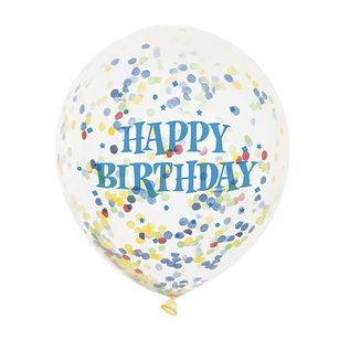 "Balloon - Latex - Happy Birthday  Confetti - 12"" (6PK)"