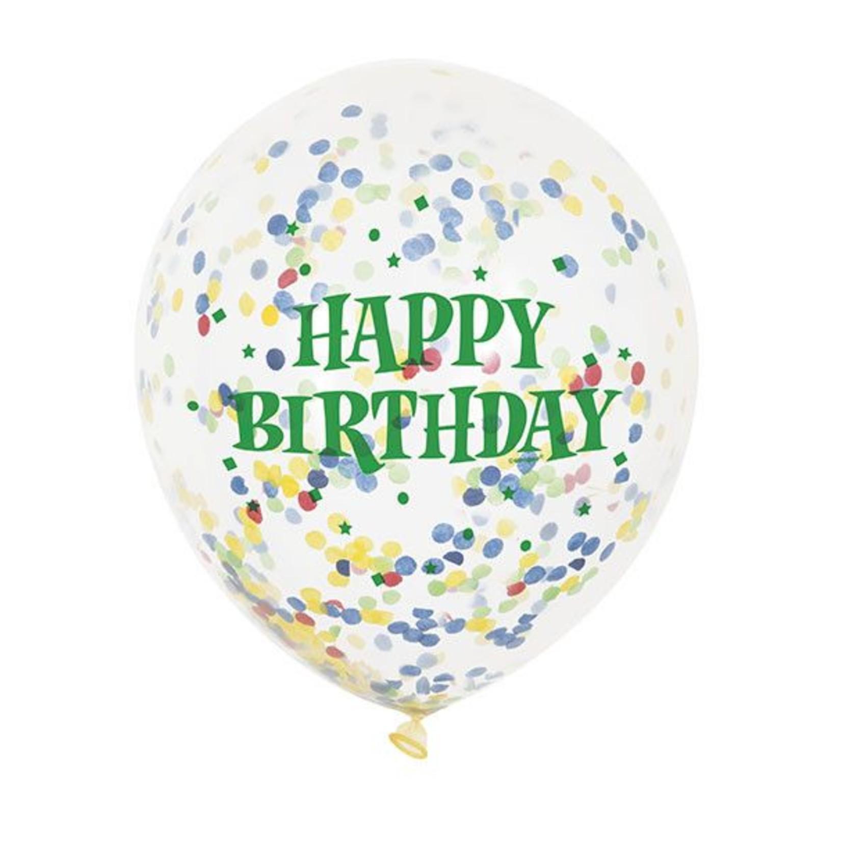 "Balloon - Latex - Happy Birthday  Confetti - 12"" (6PK)"