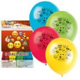 8 Latex Balloons Package -Emoji