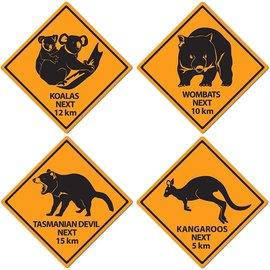 Cutouts Outback Road Sign - 4pcs