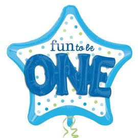 """Foil Balloon-3D Supershape-""""Fun to be One"""" Blue"""