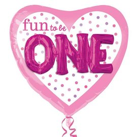 "Foil Balloon-3D Supershape-""Fun to be One"" Pink"