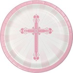 "Beverage Paper Plates- Blessing-Pink- 18pk/7"""
