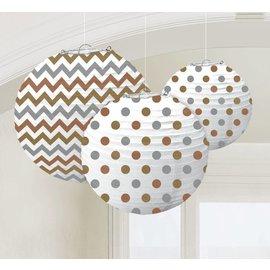 Paper Lanterns-Chevron and Polka Dot Gold, Silver, Bronze