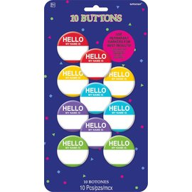 Buttons-Hello My Name Is- 10pk