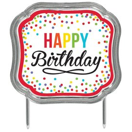 Cake Topper-Happy Birthday Rainbow Dots-4.5''x5.1''