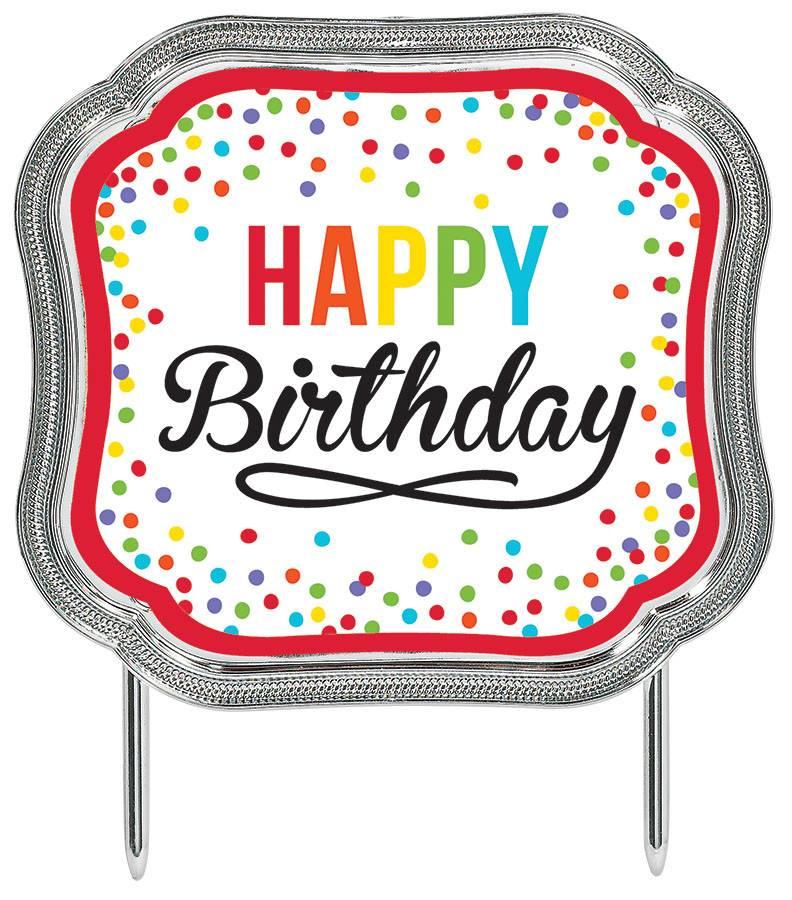 Cake Topper Happy Birthday Rainbow Dots 45x51