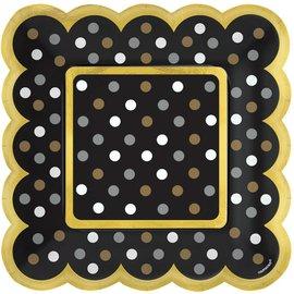 Scalloped Paper Plates-Black/Silver/Gold/White Dots-5.5''-36pk