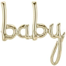 Foil Balloon - gold baby air filled - 31x34""