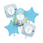 Foil Balloon - First Communion Blue 5 Pack Bouquet