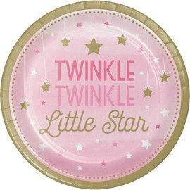 Bev Paper Plates-Twinkle Little Star Pink