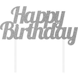 Cake Topper - Happy Birthday - Silver - 1pc