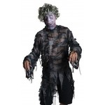Costume Accessory-Zombie Mask with Grey Wig-One Size