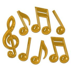 "Gold Musical Notes-Plastic-7pkg-13""-22"""