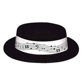 Hat-Musical Notes-Black-Plastic
