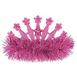 Tiara-Star-Fringe-Pink-Plastic (1pk)