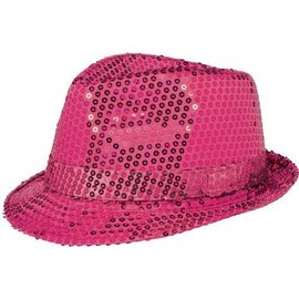 Fedora Hat-Sequin Pink-Sparkle-Fabric & Foil(1pk)