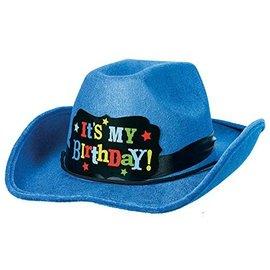 Hat-Cowboy-Birthday-Brights Blue-8''-Fabric