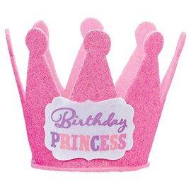 Hat-mini-Birthday Princess-Glitter-Pink