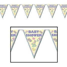 Pennant Banner-Plastic-Cuddle Time Baby Shower-1pkg-12ft