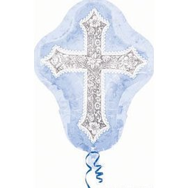 "Foil Balloon - Jumbo - Blue Christening Cross - 30""x24"""