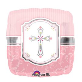 "Foil Balloon - Pink Communion Cross - 18"""