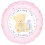 "Foil Balloon - Pink Christening Day Bear - 18"""