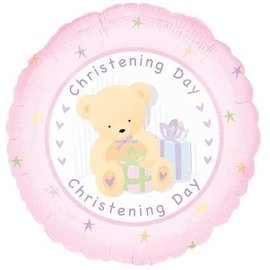 Foil Balloon - Pink Christening Day Bear - 18""