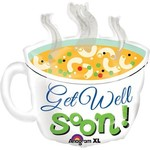 "Foil Balloon - Jumbo - Get Well Soon Soup Cup - 29"""