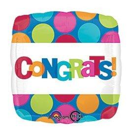 """Foil Balloon - Congrats Dots - 18"""""""