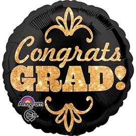 "Foil Balloon - Congrats Grad Gold Glitter - 18"""